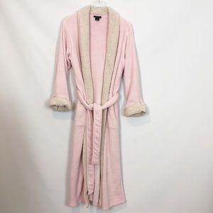 6cb52a3cc5 Natori Fleece Robe Shearling Collar Cozy Pink M